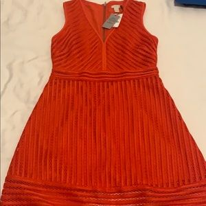 Red J Crew dress layered eyelet size 4 Petite